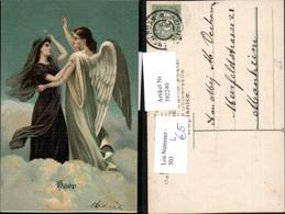 392240,Präge Litho Hoop Frau M. Schal Engel Wolken - Engel