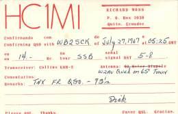 Amateur Radio QSL Card - HC1MI - Quito, Ecuador - 1967 - Radio Amateur