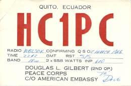 Amateur Radio QSL Card - HC1PC - Quito, Ecuador - 1966 - 2 Scans - STAMPED - Radio Amateur