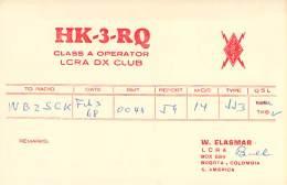 Amateur Radio QSL Card - HK3RQ - Bogota, Columbia - 1968 - Radio Amateur
