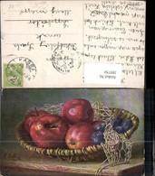 389750,Künstler Ak M. Billing Stillleben Korb Äpfel Zwetschken Essen Trinken - Küchenrezepte