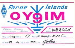 Amateur Radio QSL Card - OY9IM - Faroe Islands - 1967 - Radio Amateur
