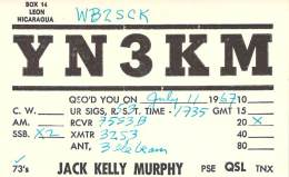Amateur Radio QSL Card - YN3KM - Nicaragua - 1967 - Radio Amateur