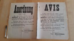 AFFICHE SECONDE GUERRE WW2 OCCUPATION BERNAY EVREUX LES ANDELYS COUVRE FEU NOVEMBRE 1940 45 X 72 Cm /FREE SHIPPING R - Affiches