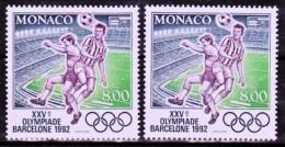 Monaco 1812 Variété Violet Fluo Et Violet Noir Footballeurs Neuf ** TB  MNH Sin Charnela - Variétés