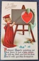 LITHO Chromo Illustrateur NISTER DUTTON N° 3101 Ange  ROBE ROUGE BACHELIER Professeur Fleche Tableau St Valentin - Saint-Valentin
