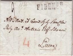 Pref. Bologna Per Lucca, Transito A Firenze. Lettera Con Contenuto Indirizzato Al Professor Antonio Silvani.1854 - Italia