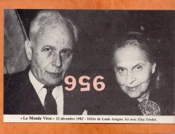 * * LE MONDE VECU * * 1982, Décès De Louis Aragon , Ici Avec Elsa Triolet ( 2 Scans ) - Artistes