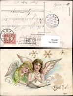 409556,Präge Litho Goldverzierung Engel Sterne - Engel