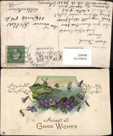 409687,Präge Künstler AK Landschaft Windmühle Passepartout Veilchen - Postcards