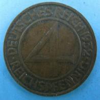 AC - GERMANY WEIMAR REPUBLIC Jägernr: 315 1932 A Bronze 1932 4 Reich - 4 Reichspfennig