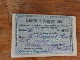 Dopustenje Za Povlascenu Voznju Kraljevina SHS Subotica Concession Ticket To Ride - Cheques & Traverler's Cheques