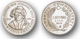 AC -  YUNUS EMRE COMMEMORATIVE CUPRO NICKEL COIN UNCIRCULATED TURKEY, 2002 - Turkey
