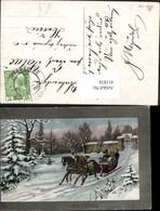 411834,Künstler Ak Pferdeschlitten Kutsche Winterlandschaft - Taxi & Carrozzelle
