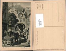 411843,Künstler Ak M. V. Schwind Die Hochzeitsreise Kutsche - Taxi & Carrozzelle