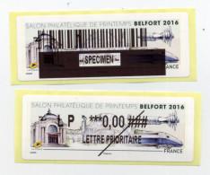 2016 LISA 2 /SALON PHILATÉLIQUE DE PRINTEMPS A BELFORT - 2010-... Illustrated Franking Labels