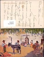 414753,Künstler Ak M. Bertuchi Un Cortijo Spanien Barcelona Typen Esel Volkstypen Eur - Europe