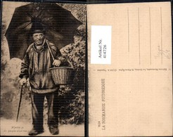 414726,La Normandie Pittoresque Frankreich Alter Mann Typ Schirm Korb Volkstypen Euro - Europe