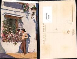 418035,Künstler Ak M. Bertuchi Paar B. Fenster Barcelona Spanien Volkstypen Europa - Europe