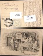 418018,Künstler Ak Russische Bauernstube Typen Kamin Ofen Volkstypen Europa - Europe