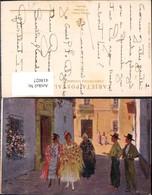 418027,Künstler Ak M. Bertuchi El Piropo Barcelona Frauen Männer Spanien Volkstypen E - Europe