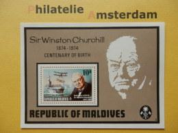 Maldives 1974, CHURCHILL CENTENNARY / AIRPLANES AVIONS VLIEGTUIGEN: Mi 550, Bl. 28, ** - Sir Winston Churchill
