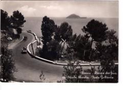 N2818 CARTOLINA Di Alassio (Savona) - L´isola Della Gallinara E Strada Aurelia + Auto D'epoca E Carrozza  _ VIAG. 1958 - Italia