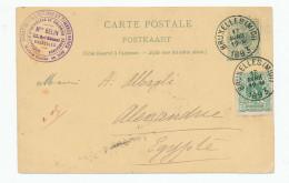 Entier Postal Lion Couché + TP Dito  BRUXELLES Vers ALEXANDRIE Egypte - Marchand De Timbres Belin --  WW908 - Entiers Postaux