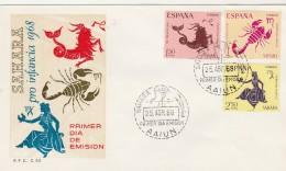 SAHARA - FDC - Yvert Série 251 à 253 - 25/4/1968 - Signes Du Zodiaque - Astrología