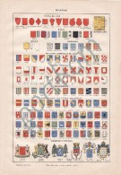 1897 BLASON Coat Of Arms CROWN Helmet HERALDRY Escutcheon LAROUSSE - Uniforms