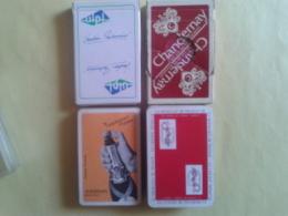 Lot De 4 Jeux Usagés Publicitaires. 2 Jeux De 32 Boite Carton. 1 Jeu De 32 Et Un Jeu De 52 + 2 Jokers Sans étui - 32 Cartes