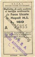 Italien - S.E.P.S.A. Esercizio Ferrovia Circumflegrea - Da Foce Licola A Napoli M.S. - Biglietto L. 160 - Transporttickets