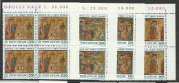 1992 Vaticano Vatican NATALE  CHRISTMAS 4 Serie Di 4v. MNH** In Quartina Angolare Bl.4 - Natale