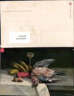 425372,Künstler Ak Ametsberger Vogel Gurken Nüsse Sektglas Stillleben Essen Trinken - Küchenrezepte