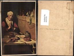 425379,Künstler Ak Nicolaas Maas Biddende Vrouw Betende Frau Tisch Katze Essen Trinke - Küchenrezepte
