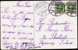 1907. King Frederik VIII. 5 Øre Green 2 Ex. KJØBENHAVN 3. 6. 07. To S/S Skalholt, Reykj... (Michel: 53) - JF194832 - Non Classés
