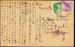 1913. King Christian X. 15 Øre Violet + 10 øre KJØBENHAVN 28. 7. 21. To Osaka, Japan.  (Michel: 69a) - JF194833 - Non Classés