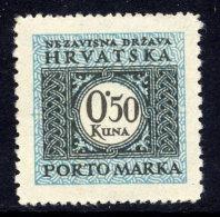 CROATIA 1943 Postage Due 0.50 K. Perforated 12:10  MNH / **.  Michel 17E - Croatia