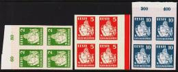 1933 SONG FESTIVAL 2 S. Green + 5 S + 10 S. Complete Set 4-blocks Proofs. Very Scarce S... (Michel: 99 - 101 PROOF) - JF - Estland