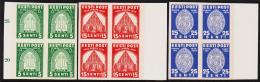 1936 PIRITA 5 S. Green  + 15 S + 25 S. Proofs In Three 4-Blocks. Very Scarce Imperforat... (Michel: 120 U, 112U, 123U) - - Estland