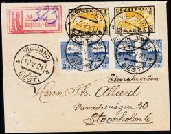 1921. 2 X 5 MARKA VIKING + 4 X 2,50 MK With A Scarce Postmaster Perforation. Cancelled ... (Michel: 13+) - JF194776 - Estland