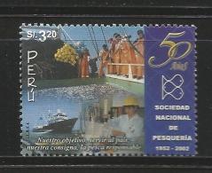B)2002 PERU, FISHING, FISH, BUSINESS, NATIONAL FISHERIES SOCIETY, 50TH ANNIV, SC 1348 A633, MNH - Peru