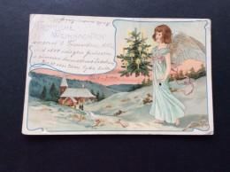 AK Feiern & Feste > Weihnachten  MÄDCHEN ANGEL ENGEL Engel Mit Weihnachtsbaum LITHO ANSICHTSKARTEN 1903 - Weihnachten