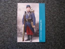 Carte Postale LES UNIFORMES  Soldat Français 121 è R I 1914 Guerre 14 18 Reproduction Colorisée Grand Format 21 X 15 - Militaria