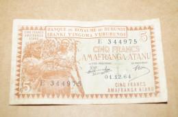 Ancien Billet De Banque, 5 Fr,Banque Du Royaume Du Burundi,le 1/12/1964, ( E 344975  ),collection - Congo