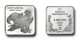 AC - EASTERN IMPERIAL EAGLE AQUILA HELIACA COMMEMORATIVE SILVER COIN BIRDS OF TURKEY SERIES #13 TURKEY 2001  PROOF UNC - Turkey