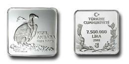 AC - GRIFFON VULTURE GYPS FULVUS COMMEMORATIVE SILVER COIN  BIRDS OF TURKEY SERIES #4 TURKEY 2001 PROOF UNCIRCULATED - Turkey