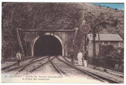 Pyrenees Orientales 66 - CERBERE Entrée Du Tunnel International Et Poste Des Douaniers Animation Douane Train Rail Sncf - Cerbere