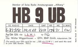 Amateur Radio QSL Card - HB9UB - Switzerland - 1968 - 2 Scans - Radio Amateur