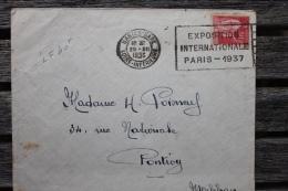 Enveloppe Affranchie 50c Type Paix Oblitération Flamme Nantes Gare Exposition Internationale Paris 1937 - France